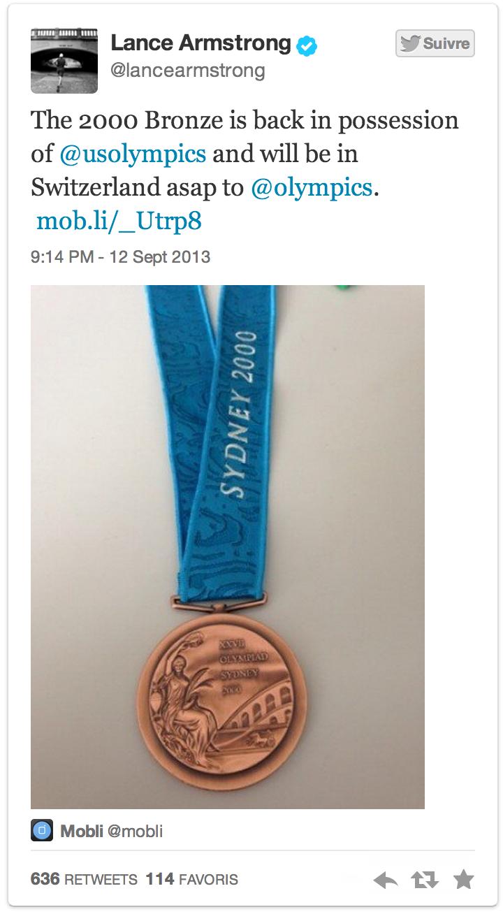 Armstrong ha restituito la medaglia