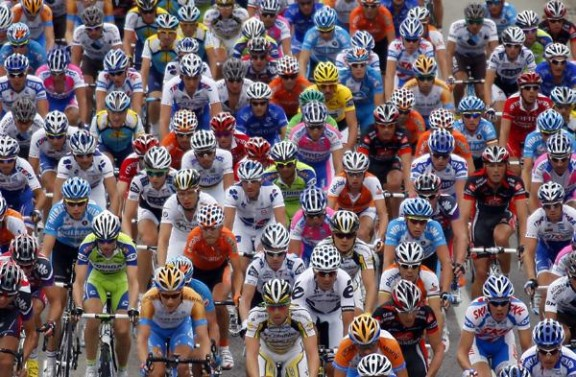 The peloton rides during the sixth stage of the 96th Tour de France cycling race between Gerona and Barcelona