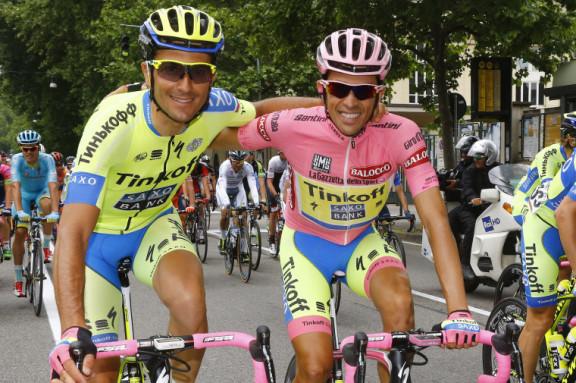 Giro d'Italia 2015 - 98a edizione - 21a tappa Torino - Milano 179 km - 31/05/2015 - Alberto Contador (Tinkoff - Saxo) - Ivan Basso (Tinkoff - Saxo) - foto Roberto Bettini/BettiniPhoto©2015