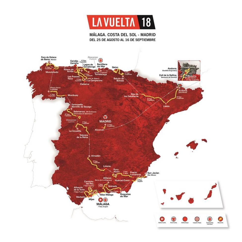 Il percorso della Vuelta 2018