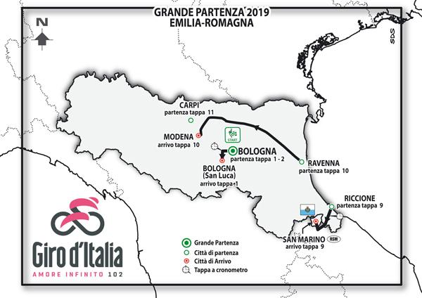 Il Giro d'Italia 2019 partirà dall'Emilia Romagna