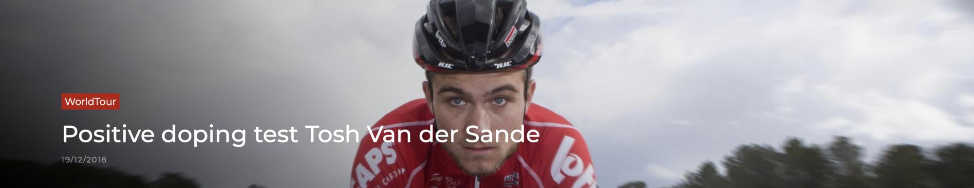 Tosh Van der Sande positivo e sospeso dalla Lotto-Soudal
