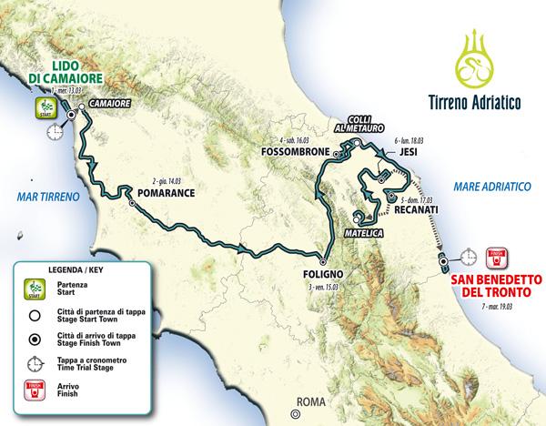 Il percorso della Tirreno-Adriatico 2019
