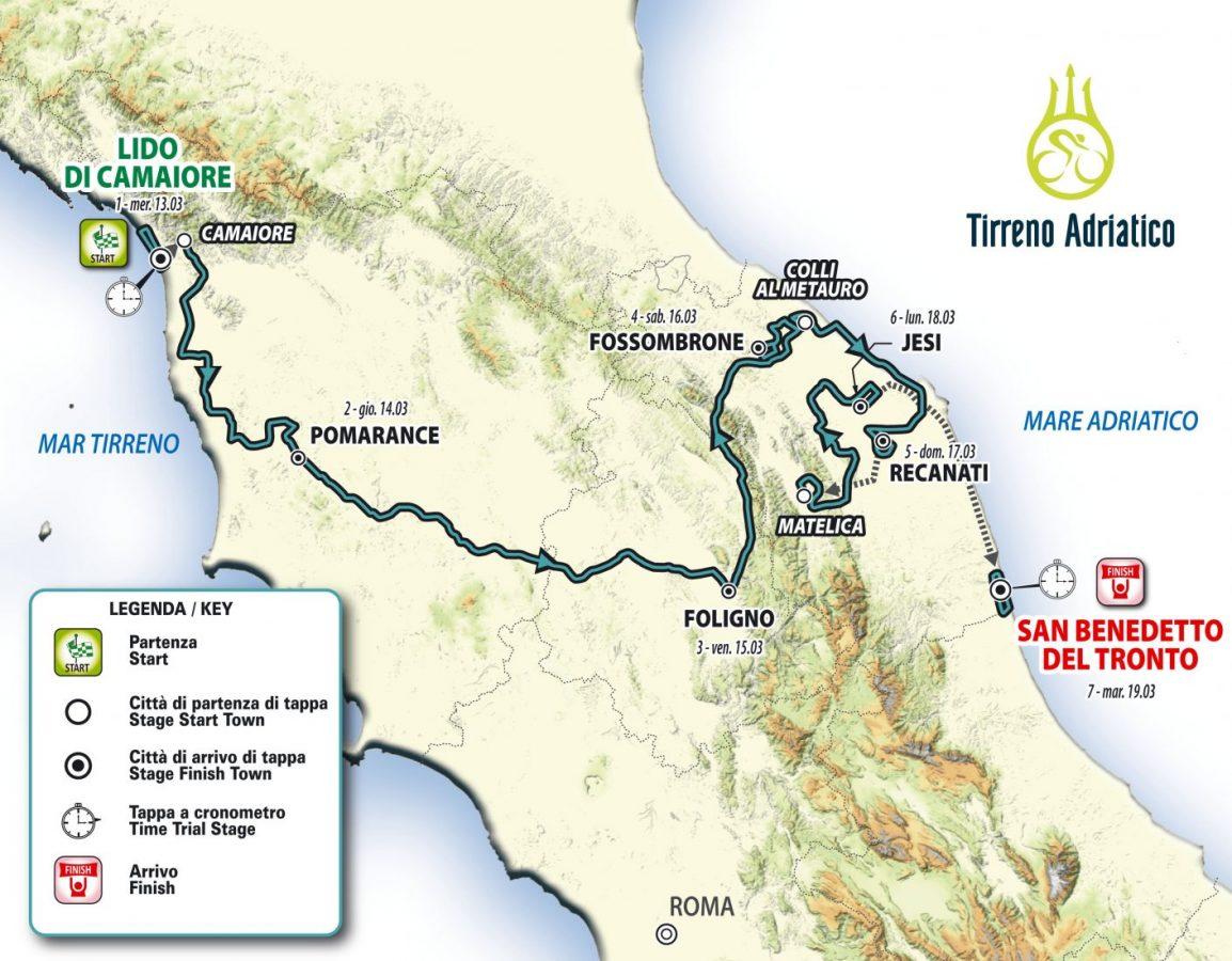 Presentata la Tirreno Adriatico, a Recanati la tappa dei muri