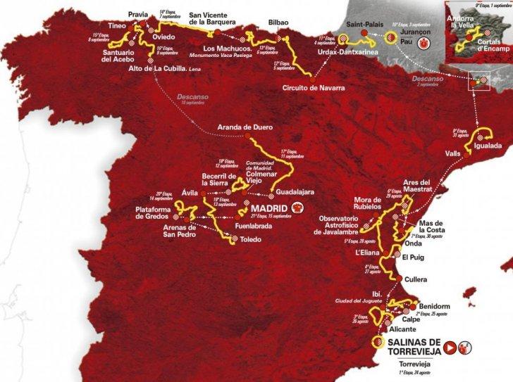 Il percorso della Vuelta 2019