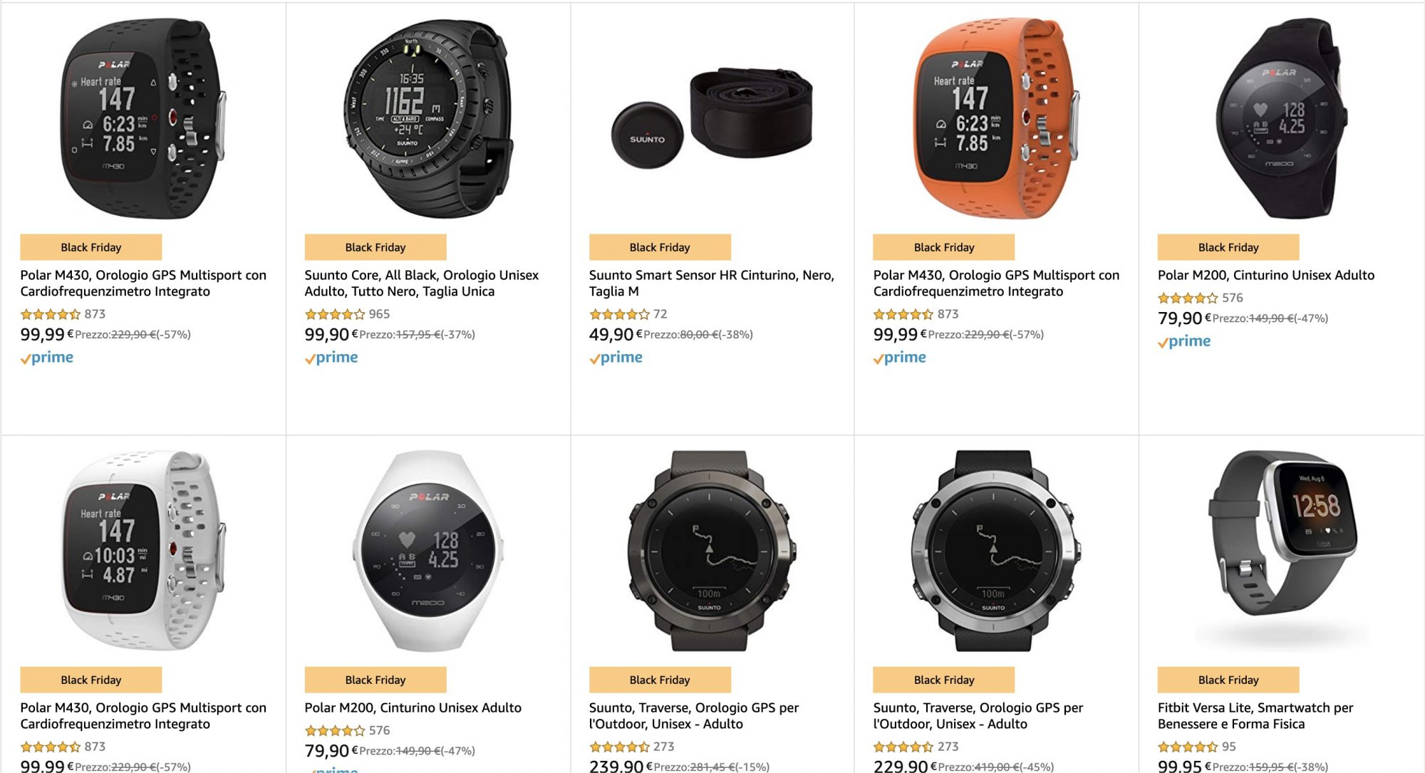 Black Friday: offerte Suunto e Polar