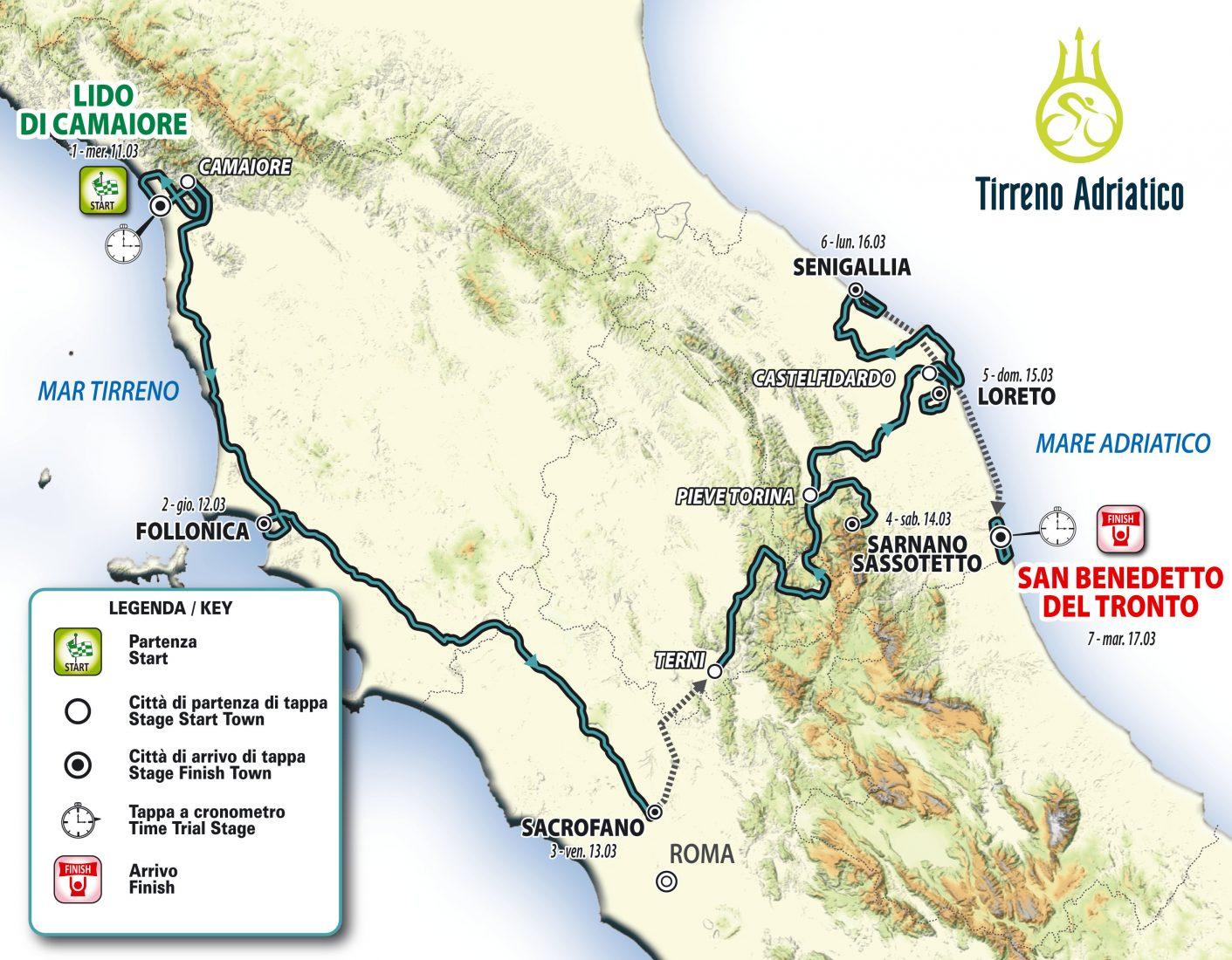 55^ Tirreno-Adriatico, ritorna l'arrivo in salita e niente cronosquadre