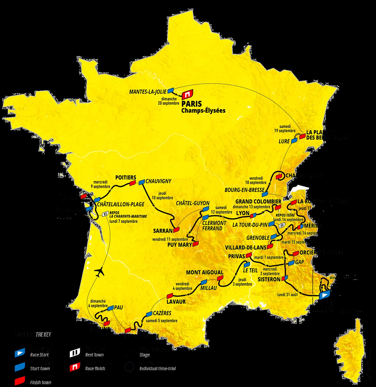 Il percorso del Tour de France 2020 : tappe, nuove date, città e profili dal 29 agosto al 20 settembre 2020