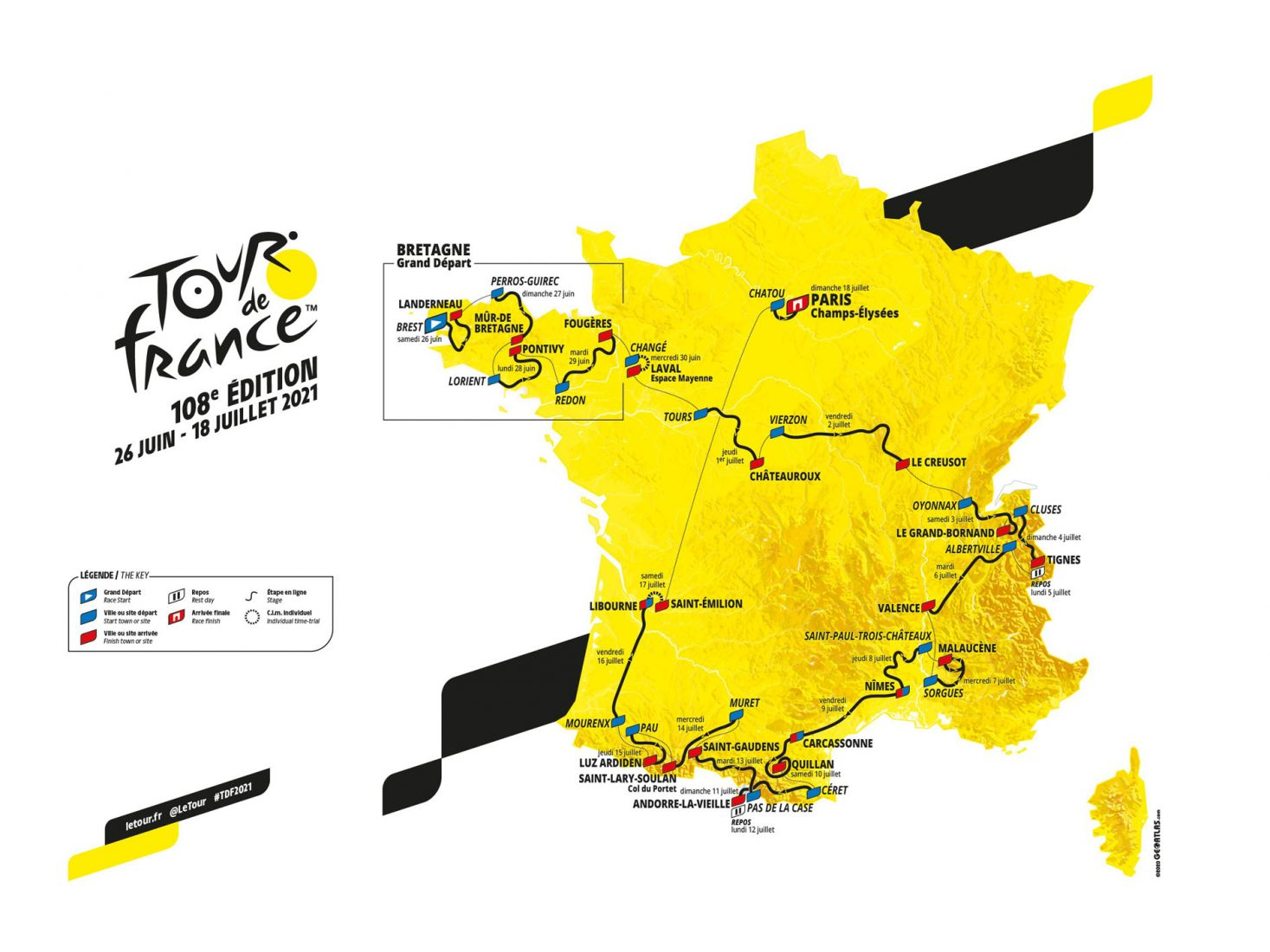 Il percorso del Tour de France 2021